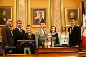 Rep. Stanerson (R- Linn) and I with a group of Kirkwood students