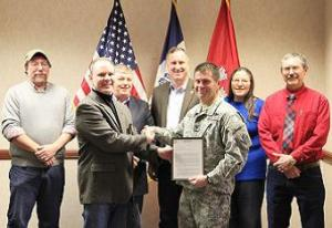 Sen. Zumbach & I with the Lake Delhi Trustees accepting the permit from the Army Corps of Engineers to rebuild the dam.