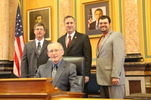 Delaware County Farm Bureau members Bruce Knipper, Mike Recker, and Bruce Nieman