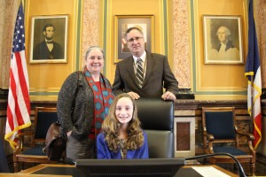 Anna Mary Riniker (left), her daughter Elizabeth (center) and myself in the House Chamber.