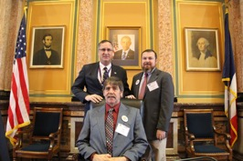 Dan Rickels and Darrick Hall from Jones County Farm Bureau and I in the House Chamber