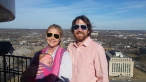 Chad and Emily Becker on the balcony at the top of the dome